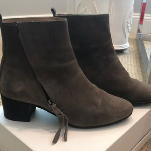 Taupe suede ankle boots with zipper